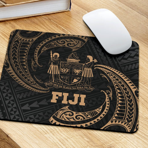 Fiji Polynesian Mouse Pad - Gold Tribal Wave - BN12