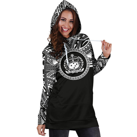 Samoa Women Hoodie Dress - Samoa Coat Of Arms Polynesian Black Color Bn10