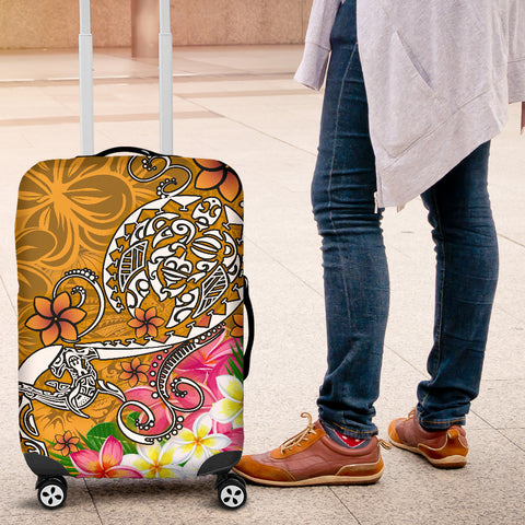 Image of Polynesian Luggage Covers - Turtle Plumeria Gold Color - BN18