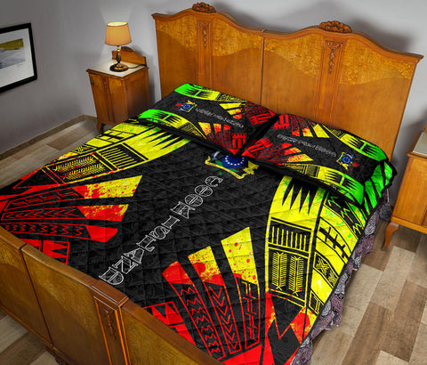 Cook Islands Polynesian Quilt Bed Set - Reggae Tattoo Style - BN00112