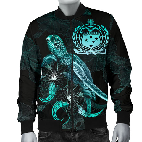 Image of Samoa Polynesian Men's Bomber Jacket - Turtle With Blooming Hibiscus Turquoise