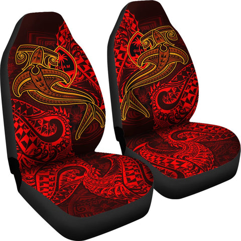 Guam Polynesian Car Seat Covers - Red Shark Polynesian Tattoo - BN18