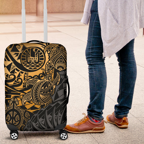 Tahiti Polynesian Luggage Cover - Gold Turtle Hibiscus Flowing - BN11