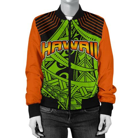 Polynesian Hawaii Women's Bomber Jacket - Tribal Wave - BN12
