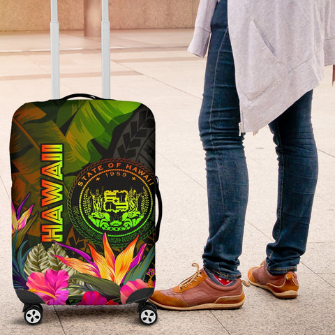 Polynesian Hawaii Polynesian Luggage Covers -  Hibiscus and Banana Leaves