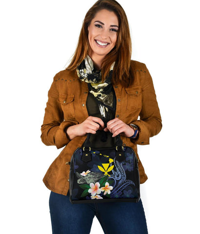 Polynesian Hawaii Shoulder Handbag - Turtle With Plumeria Flowers - BN12