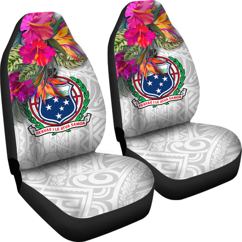 Samoa Car Seat Covers Polynesian Hibiscus White Pattern