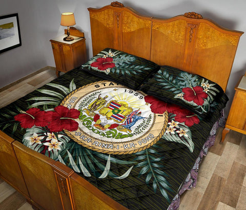 Hawaii Polynesian Quilt Bed Set - Special Hibiscus A7