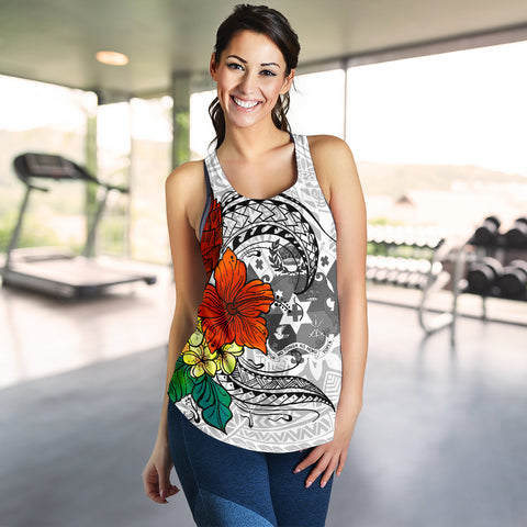 Image of Tonga Women's Racerback Tank - Tropical Flowers White Patterns Style