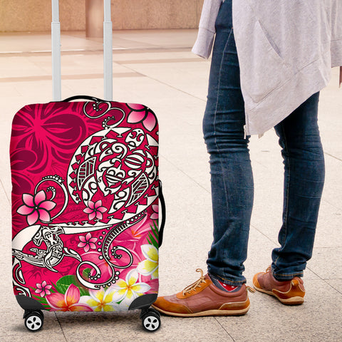 Image of Polynesian Luggage Covers - Turtle Plumeria Pink Color - BN18