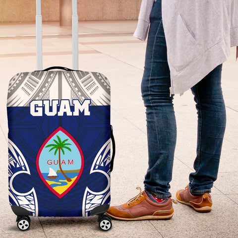 Guam Polynesian Luggage Covers - Pattern With Seal Blue Version - BN12
