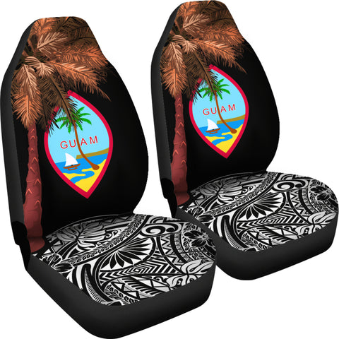 Image of Guam Car Seat Covers - Guahan Palm Tree Polynesian Pattern Black - BN39