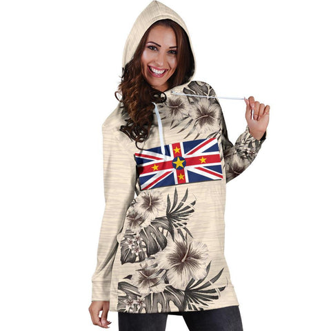 Niue Hoodie Dress - The Beige Hibiscus A7