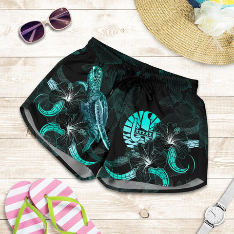 Tahiti Polynesian Women's Shorts - Turtle With Blooming Hibiscus Turquoise