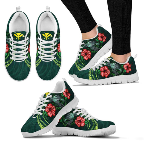 Hawaii Polynesian Sneakers - Green Turtle Hibiscus - BN12