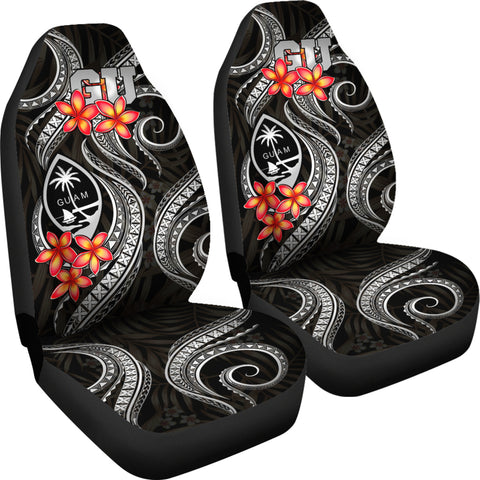 Guam Polynesian Car Seat Covers - Black Plumeria