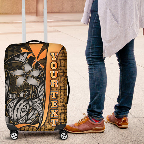 Polynesian Hawaii Custom Personalised Luggage Covers Gold - Turtle with Hook