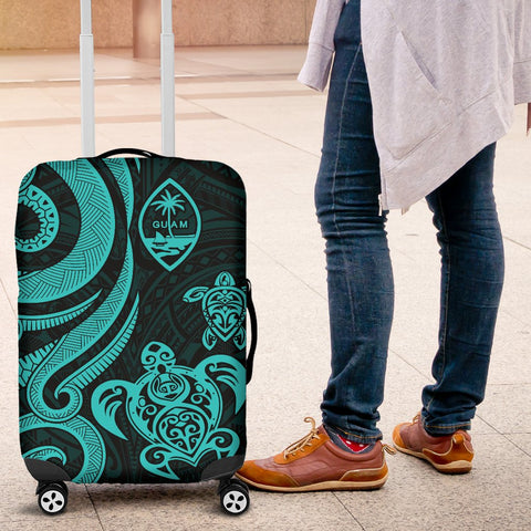 Guam Polynesian Luggage Covers - Turquoise Tentacle Turtle - BN11