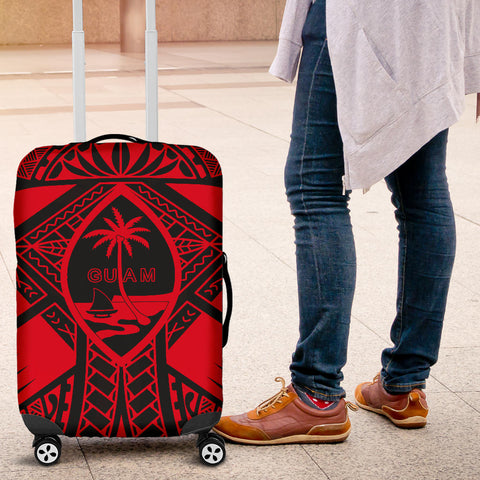 Guam Polynesian Luggage Cover -  Red Guam Coat Of Arms Polynesian Tattoo
