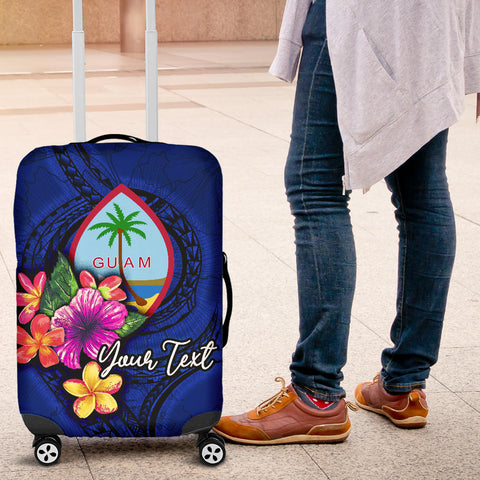 Guam Polynesian Custom Personalised Luggage Covers - Floral With Seal Blue - BN12