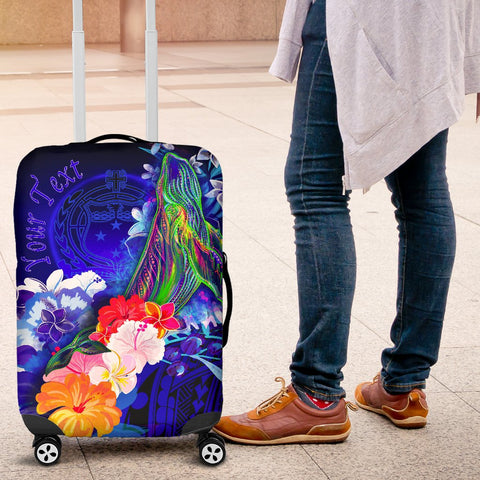Image of [Custom] Samoa Luggage Covers - Humpback Whale with Tropical Flowers (Blue)