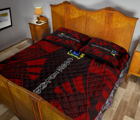 Cook Islands Polynesian Quilt Bed Set - Red Tattoo Style - BN0112