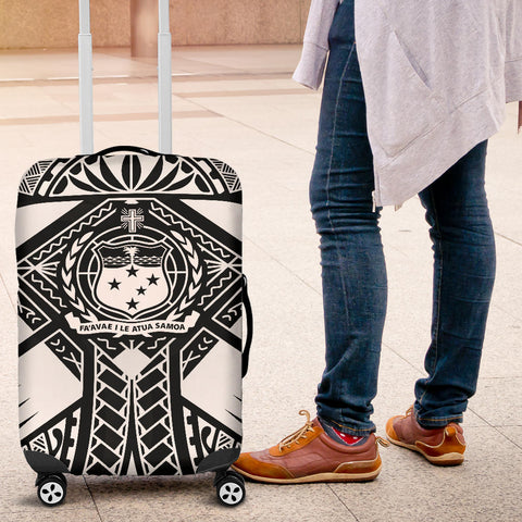 Samoa Polynesian Luggage Covers - Samoa White Seal with Polynesian Tattoo - BN18