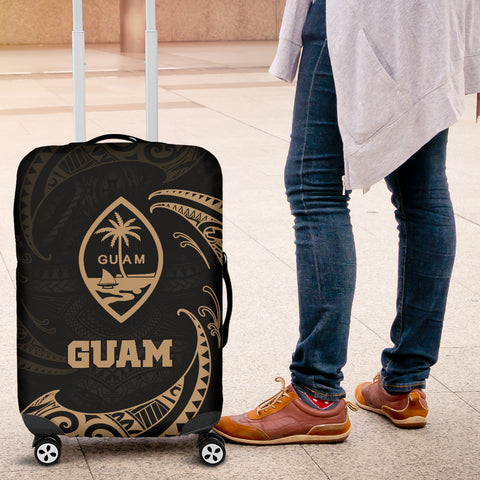 Guam Polynesian Luggage Covers - Gold Tribal Wave - BN12