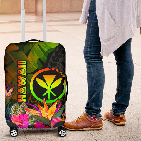Polynesian Hawaii Kanaka Maoli Polynesian Luggage Covers -  Hibiscus and Banana Leaves