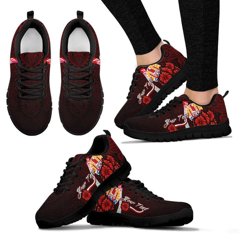 Tahiti Polynesian Custom Personalised Sneakers - Coat Of Arm With Hibiscus - BN12