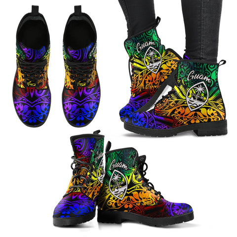 Image of Guam Leather Boots - Rainbow Polynesian Pattern - BN11
