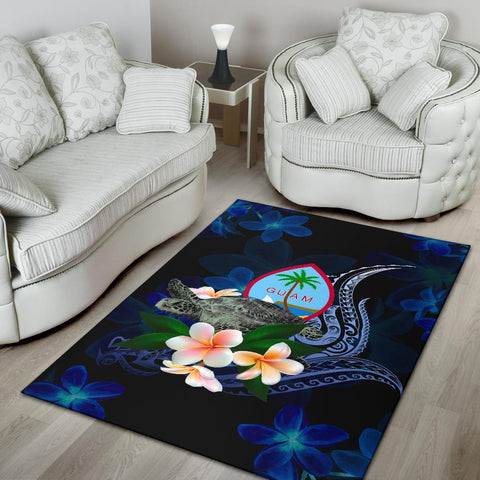 Guam Polynesian Area Rug - Turtle With Plumeria Flowers - BN12