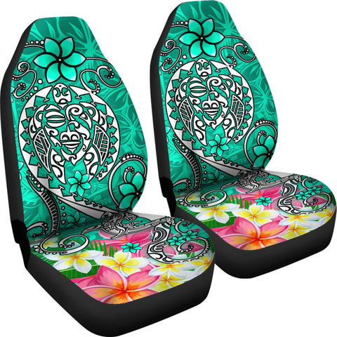 Polynesian Car Seat Covers - Turtle Plumeria Turquoise Color - BN18