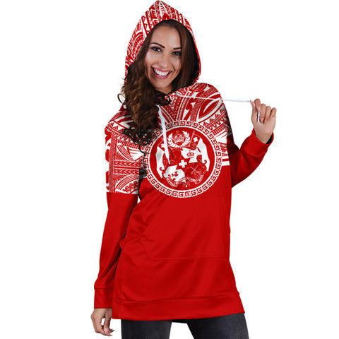 Tonga Women Hoodie Dress - Tonga Coat Of Arms Polynesian Flag Color Bn10