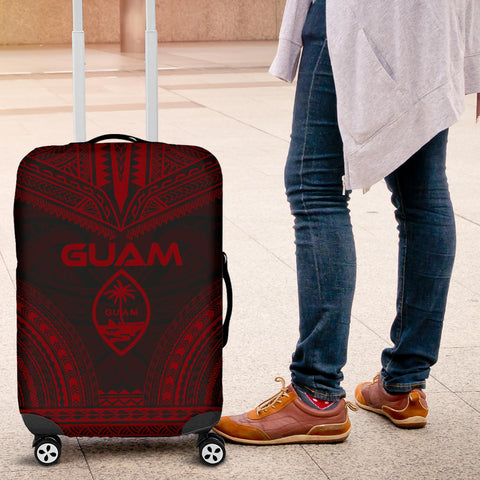 Guam Polynesian Chief Luggage Cover - Red Version - Bn10
