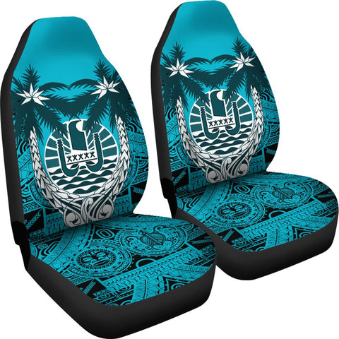 Tahiti Car Seat Covers - Tahiti Flag Coconut Tree Blue Version - A02 1ST