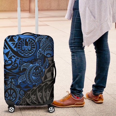 Tahiti Polynesian Luggage Cover - Blue Turtle Hibiscus Flowing - BN11