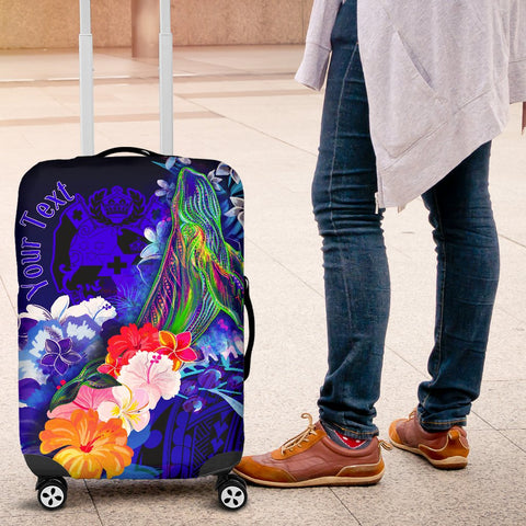 Tonga Custom Personalised Luggage Covers - Humpback Whale with Tropical Flowers (Blue)