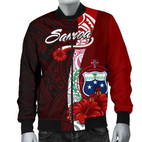 Samoa Polynesian Men's Bomber Jacket - Coat Of Arm With Hibiscus - BN12