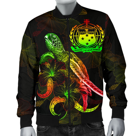 Image of Samoa Polynesian Men's Bomber Jacket - Turtle With Blooming Hibiscus Reggae