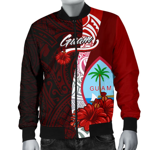 Guam Polynesian Men's Bomber Jacket - Coat Of Arm With Hibiscus - BN12