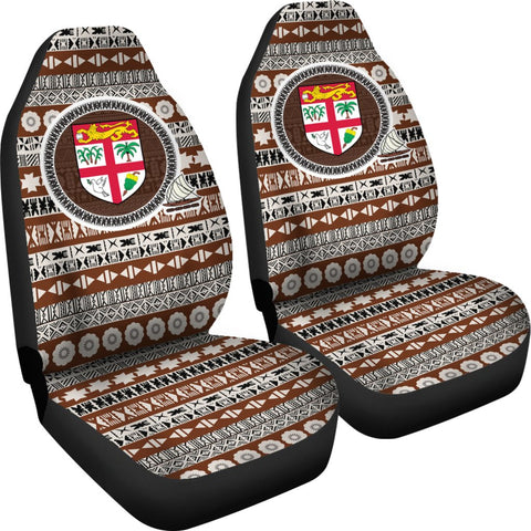 Fiji Car Seat Cover - Coat Of Arms On Tapa Pattern | Fiji shop online store