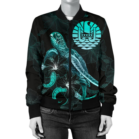 Tahiti Polynesian Women's Bomber Jacket - Turtle With Blooming Hibiscus Turquoise