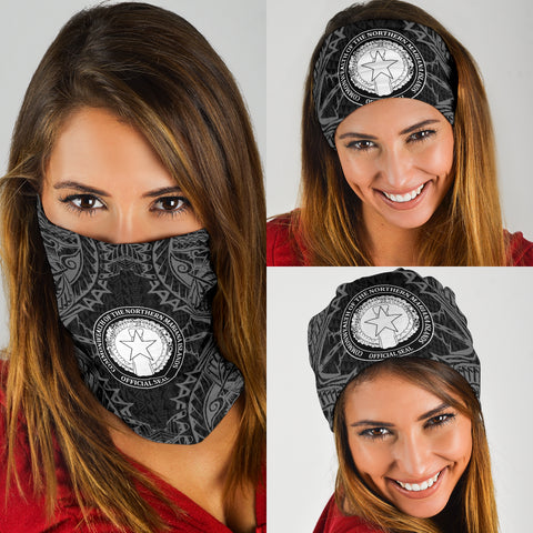 Northern Mariana Islands Polynesian Bandana 3-Pack - Coat Of Arm Black - BN39