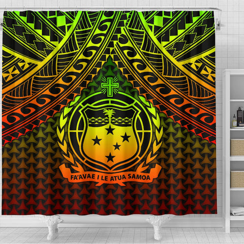 Image of Polynesian Samoa Shower Curtain - Reggae Vintage Polynesian Patterns
