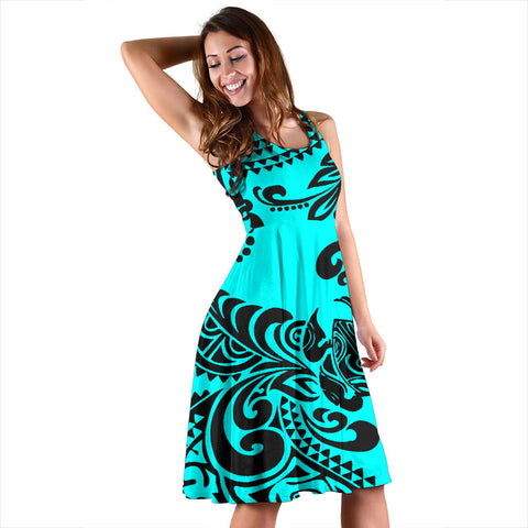 Polynesian Midi Dress - Cyan Turtle - BN11