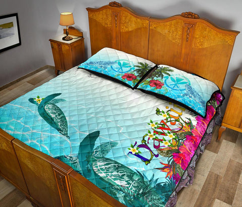 Polynesian Hawaii Quilt Bed Sets - View sea Hawaii with Turtle and Whale - BN17