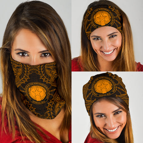 Northern Mariana Islands Polynesian Bandana 3-Pack - Coat Of Arm Gold - BN39