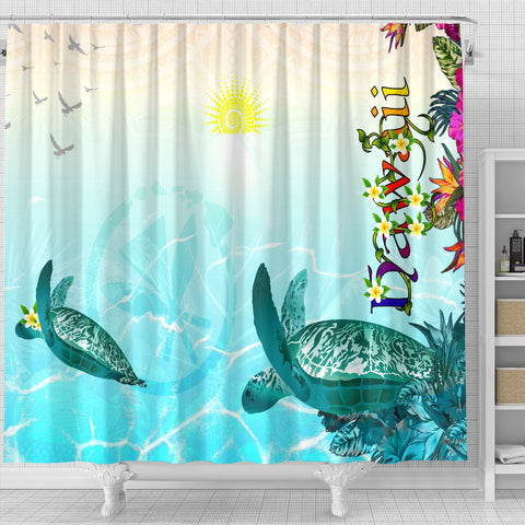 Polynesian Hawaii Shower Curtains - View sea Hawaii with Turtle and Whale - BN17