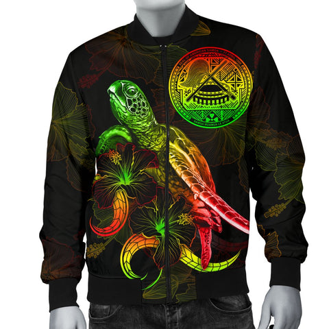 American Samoa Polynesian Men's Bomber Jacket - Turtle With Blooming Hibiscus Reggae
